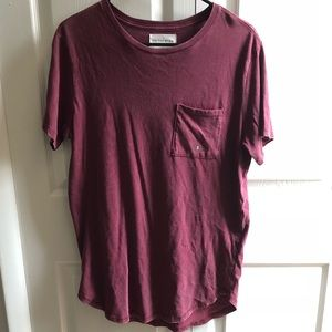 Vintage wash red longer scallop tee NWT